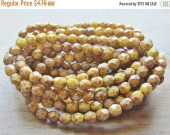 ON SALE Czech Fire Polish Bead 6mm Round White with Full Picasso Finish 1 Strand