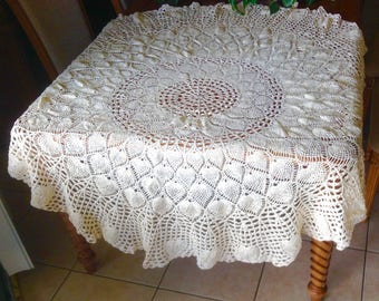 "pretty vintage tablecloth hand tied ecru 68"" round coverlet off white"