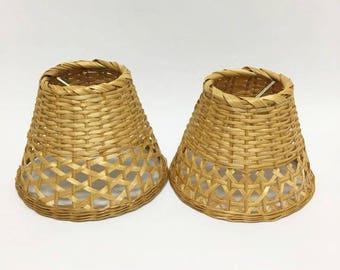 Wicker Lamp Shades / Set of 2 / Small Shades / Bohemian Decor