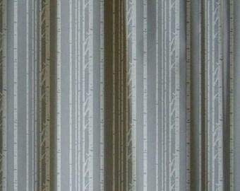 woodland aspen Birch Tree Print Custom Window Treatments Drapery Curtain Panels Lined Monochromatic, Minimalist, Grey White