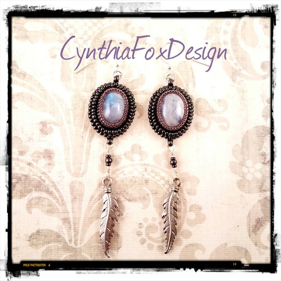 Long Bead Embroidered Moonstone Earrings with Metal Feathers