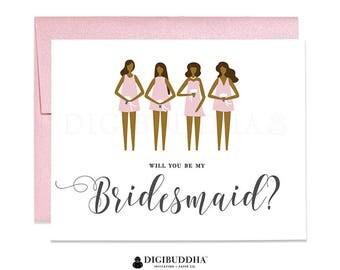 Will You Be My Bridesmaid? Card Blush Pink Dress Bridesmaid Proposal Card Dark Skin Bridesmaid Black Bridesmaid Bridal Wedding Card CW0021