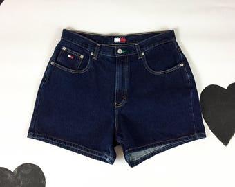 90s Tommy Hilfiger denim dark wash shorts / Logo Patch / Tommy Jeans / Tommy Gear / Size 14 / Gigi / Aaliyah / TLC / 90s Hip Hop / Large /