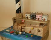 Sunny Harbour Driftwood Art Sculpture with Lighthouse and Cottages