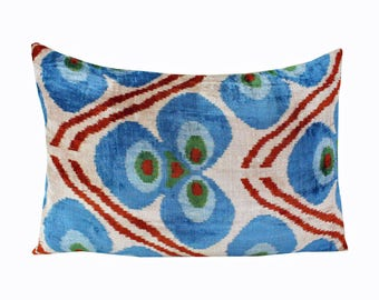Silk Velvet Ikat Pillow Cover Lp302, Bohemian pillow, Velvet Ikat Pillow, Velvet Pillow