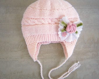 Baby Hat Photo Prop, Baby Girl Hat Toddler, Baby Girl Hat with flower, Knit Newborn Hat, Toddler Hat Girl