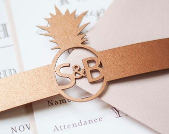 Tropical Pineapple Wedding Invitation Laser Cut Belly Band