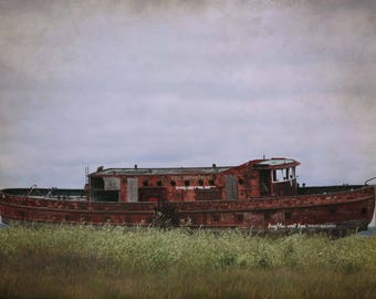 Christmas in July Chicago Fire Department Boat Photo, Shipwreck Photography, Rustic Lake Cabin Cottage Decor, Travel Home Decor Wall Art
