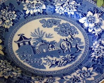 Hadderidge Pottery Burslem – Reproduction Rogers 1780 'ORIENTAL ELEPHANT' in Blue Transferware