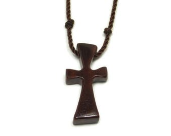 Simple Cross Necklace, Walnut Cross Pendant, Mens Cross Pendant, Wood Cross Necklace, Walnut Hardwood, Mens Jewelry Cross, Gifts Under 20