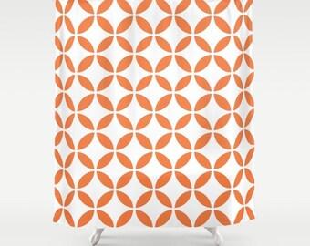 36 colours, Mid Century Modern, Circles Pattern Shower Curtain, abstract style, Peach Rose, Orange shower curtain, geometric bathroom decor