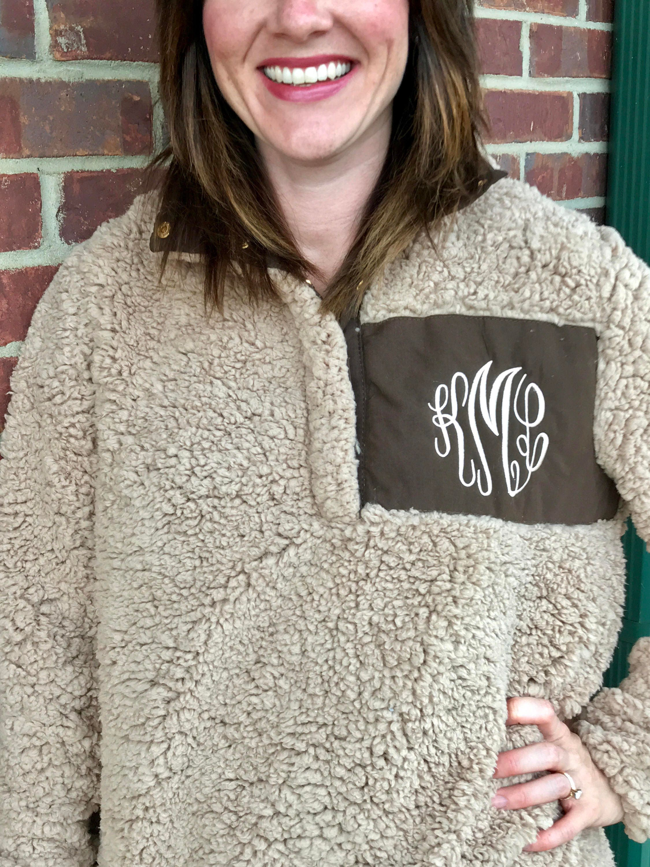 IN STOCK Monogram Sherpa Pullover Jacket Monogram Sherpa