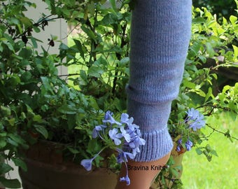 Knitted Leg Warmers 25 inches Periwinkle Blue Ballet, Yoga, Pilates