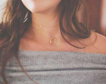 Layering Necklace - Simple Gold Necklaces - Gift for Women - 14 Karat Gold Filled Necklaces - 14 Karat Gold Choker and Gold Circle Necklace