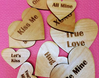 Valentine Conversation Hearts Personalize Wood Heart Wood Sweetheart Hearts Love Hearts