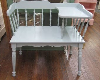 Hand Painted Vintage Bench Shabby Blue Farmhouse Cottage Prairie Chic