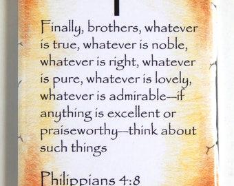 Philippians 4:8 Bible Verse Fridge Magnet (2 x 3 inches)