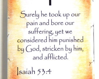 Isaiah 53:4 Bible Verse Fridge Magnet (2 x 3 inches)