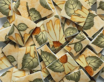 Mosaic Tiles SUNFLOWERS gold orange green leaves 116 Pieces
