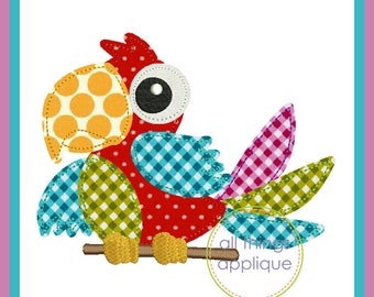 Parrot 1 Bean Stitch Applique Design (#967) - Machine Embroidery Applique Design - 4 Sizes - INSTANT DOWNLOAD