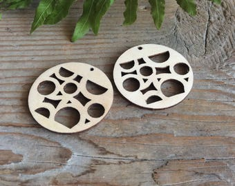 Geometric wood blanks / set of 10 / wooden pendant / wood  circles / pendant blanks / plywood shape / wood shape geometric