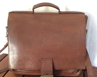 15%OFF VACATION SALE All Leather Vintage Genuine Custom Hide Brown Leather Briefcase Messenger Bag Made in Usa