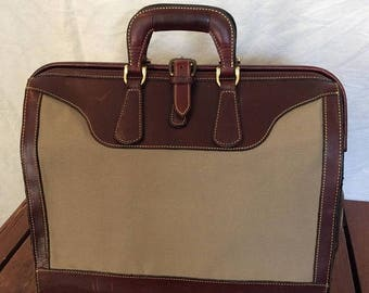 15%OFF VACATION SALE Vintage Genuine Levenger Burgundy Leather and Khaki Canvas Business Doctor Lawyers Portfolio Briefcase Attache