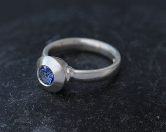 Blue Sapphire Engagement Ring - Silver Sapphire Ring - Blue Gemstone Ring - Blue Sapphire Solitaire Ring - Made to Order - Free Shipping