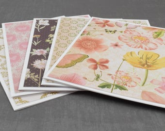 Floral Card, Pink Cards, Pack of Greeting Cards, Assorted Cards, Set of Cards, Blank Greeting Cards, Stationery Cards, Blank Cards, Handmade
