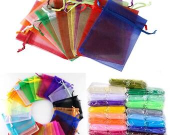 Lot of 10 ( 2.5 x 3.5   inch) Random Mixed Color organza lot supplies storage party bag