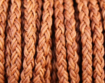 8mm Light Brown Round Braided Bolo Leather Cord - Natural Dye - 8mm Wide - 8 Strand Braided Cord - 8 Ply