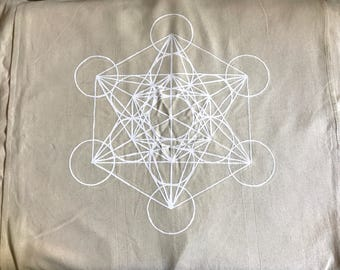 XL METATRON'S CUBE---  Crystal Grid Cloth -- white ink  --- 100% cotton, natural textile, sacred geometry grid template, alter cloth