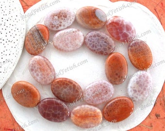 Fire Agate Beads, 1 Strand 24 x 18mm Gorgeous Natural Fire Agate Flat Oval Semi Precious Stone Beads, Gemstone Beads SEM-036