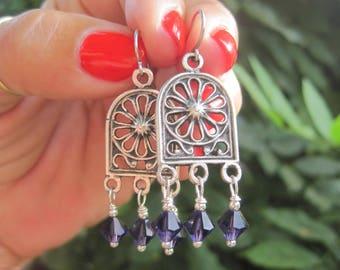 Moroccan Style Chandelier Earrings - Purple Crystal Chandelier Earrings - Boho Gypsy Chandelier Earrings