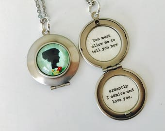 Jane Austen necklace, quote locket, Pride and Predjudice, You must allow me to tell you how ardently I admire and love you, Mr. Darcy