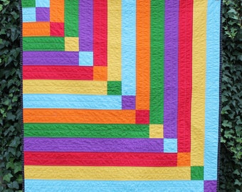 Modern Rainbow Baby Quilt, Crib Quilt, baby blanket, Red, Orange, Yellow, Green, Blue, Purple, Stepping Stones Quilt