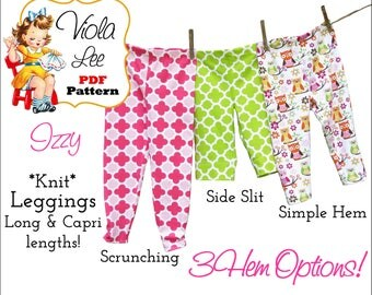 Izzy Knit Leggings Sewing Pattern. Long & Capri lengths Pant Pattern. Girl's Sewing Pattern. Toddler Pant Pattern. Infants Pant Pattern. pdf