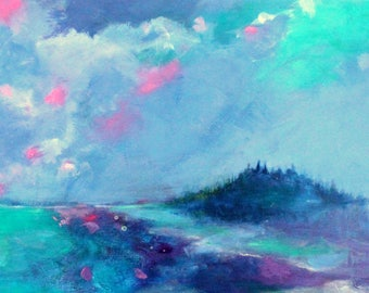 "Abstract Seascape, Skyscape Painting, Blue, Loose, Ocean Scene, ""An Island of Your Own"" 12x24"""