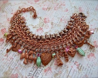 Gingerbread & Copper, MultiChain Charm Bracelet, Gingerbread Charms, Convertible Bracelet, Charm Bracelet, Vintage Chains,Book Chain,Crystal