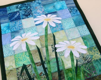 Batik Daisy Quilted Wall Hanging / Art Quilt, Pattern or Kit, by PingWynny