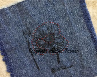 Handprinted Hand Carved Summer Red Poppy Blossom Flower and Seedpod on Denim Fabric Label Patch with Embroidery Details Red Stitchery