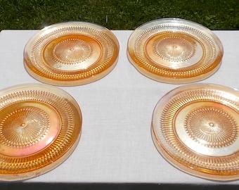"""Set of FOUR Jeannette Glass Co Anniversary SUNBURST Dinner Plates 10"""" GOLD Orange"""