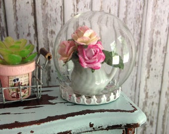 Dollhouse Miniature Shabby Chic Vintage Inspired Round Globe Glass Cloche with Paper Roses Arrangement in White Ceramic Jug