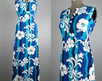 Vintage 1960s Dress 60s Blue Hawaii Cotton Luau Maxi Dress Size L
