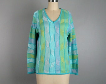 Vintage 1980s Sweater 80s Colorful Cotton V Neck Pullover Sweater by Marcazzoni Italy Size L