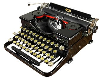 Vintage Royal Portable Typewriter 1930s, Glossy Early Model OT, Serviced, Working