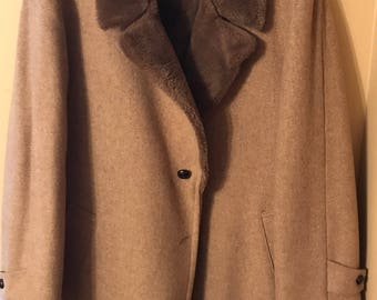Vintage Long Beige Winter Coat