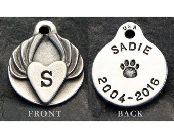 Pet Loss Gift - Pet Memorial - Jewelry - Initial - Keychain - Monogram - Dog Tags - Custom - Pewter - Heart With Angel Wings