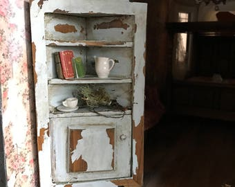 Dollhouse miniature Artisan's distressed blue hutch