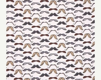 ON SALE Retro Mustache, Mustache Fabric, Novelty Fabric, Mustache, Timeless Treasures, FUN Oc2954, 01052A